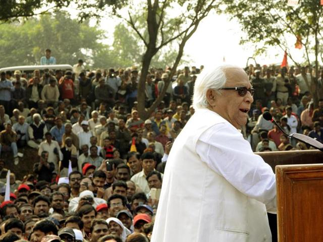 Former chief minister Buddhadeb Bhattacherjee at a 'Protest March' from Singur to Shalboni on January 16 this year.  Though the Marxists tried to reach  out to the people before the Assembly polls  held in April and May, they lost miserably.