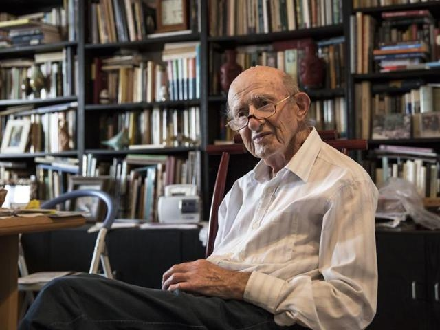 Joseph Harmatz sits during an interview with the Associated Press at his apartment in Tel Aviv, Israel.