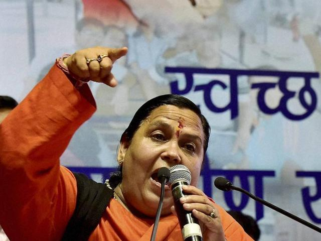 Union water resources minister Uma Bharti addresses a gathering after inaugurating national convention on Swachh Ganga – Gramin Sahbhagita in New Delhi.