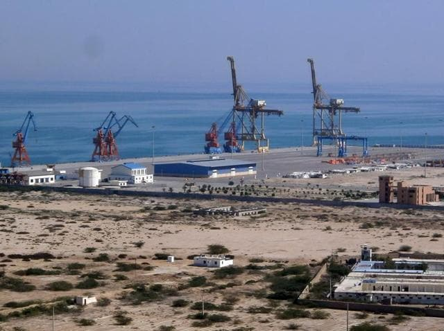 This photograph taken on February 12, 2013 shows the construction site at Gwadar port in the Arabian Sea.
