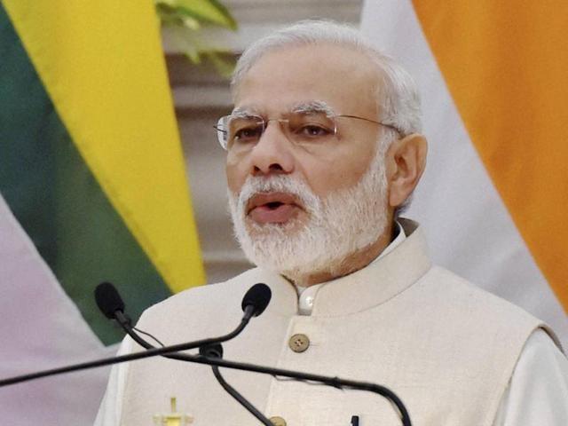 Prime Minister Narendra Modi speaks at Hyderabad house in New Delhi.