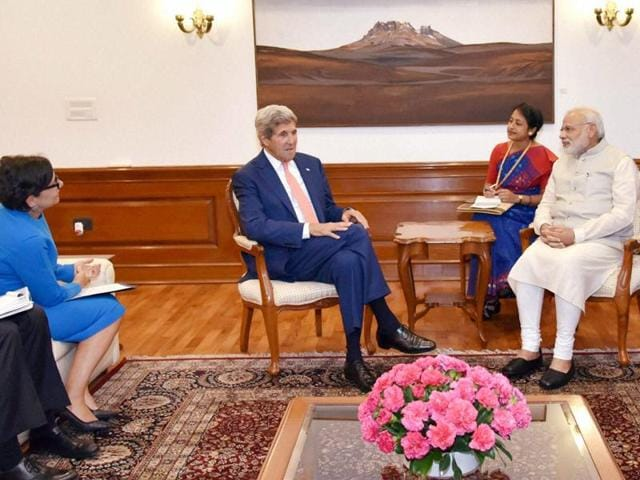 Prime Minister Narendra Modi with US Secretary of State John Kerry at a meeting in New Delhi on Wednesday,August 31, 2016. US Secretary of Commerce Penny Pritzker and US Ambassador to India Richard Verma are also seen.