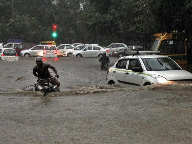 Heavy rainfall in the Capital led to waterlogging at Patel Nagar in New Delhi on Wednesday.