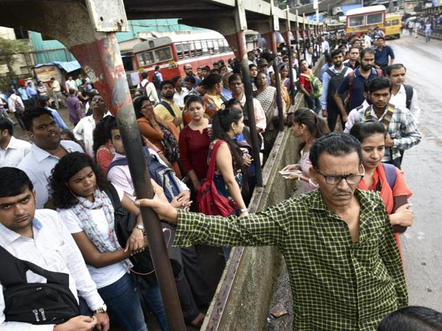 Strike causes long queues of people waiting for a ride outside Bandra station on Wednesday