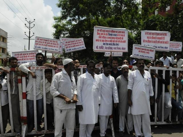Muslim community people of Bhopal assemble in front of National Green Tribunal office on Tuesday.