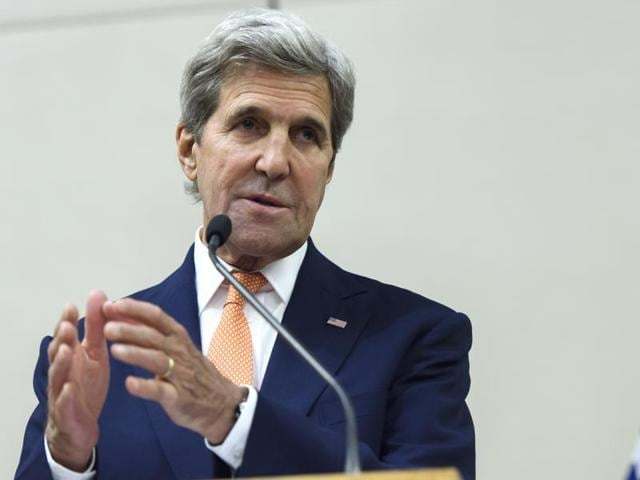 US secretary of state John Kerry, speaks to journalists after a meeting in Geneva, Switzerland.(AP File Photo)