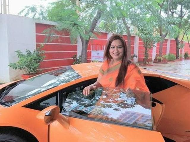 Suman Mehta got the saffron Lamborghini as her birthday present.