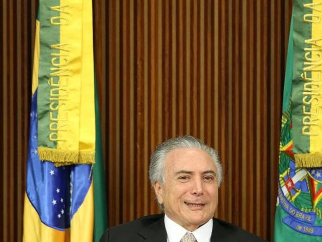 Brazil's new President Michel Temer attends a ministerial meeting after Brazil's Senate removed President Dilma Rousseff in Brasilia, Brazil, August 31, 2016.
