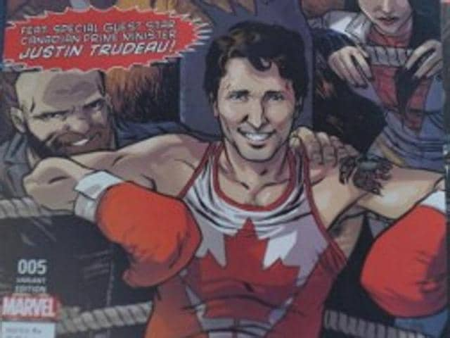 The cover of Marvel's comic book, featuring Canadian Prime Minister Justin Trudeau as a super hero in front of a news stand in Montreal, Canada.
