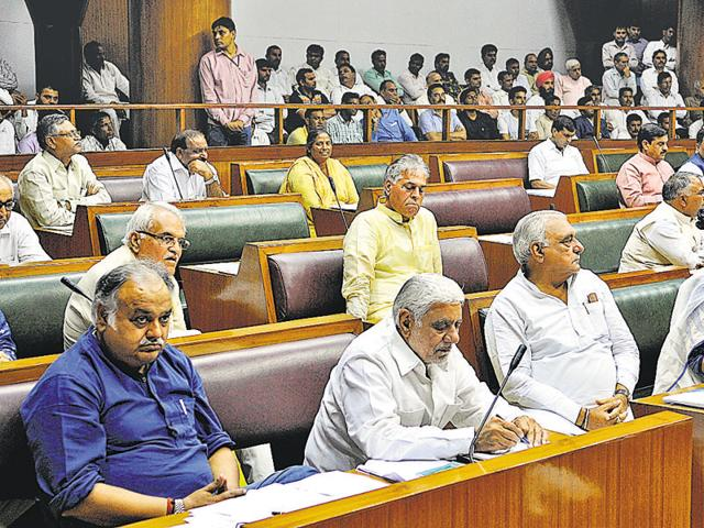 Congress MLAs during the proceedings in the Haryana assembly in Chandigarh on Wednesday.