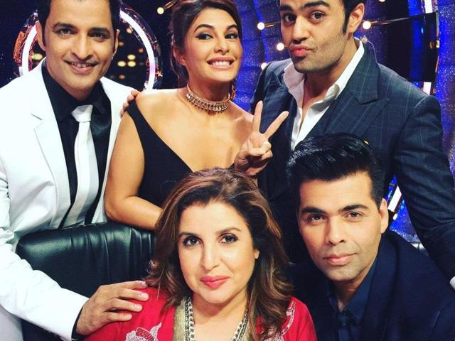 Farah Khan, Karan Johar, Manish Paul and Jacqueline Fernandez on Jhalak Dikhhla Jaa sets.