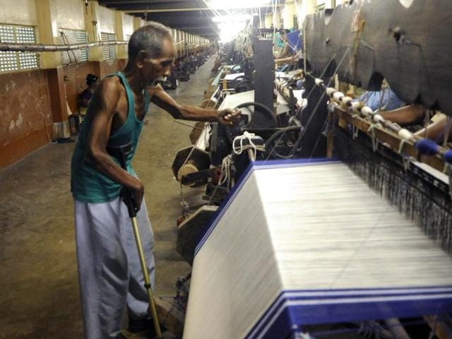 Sarees for sisters of Missionaries Of Charity being woven  at Gandhi Prem Nivas at Titagarh in North 24 Parganas district.