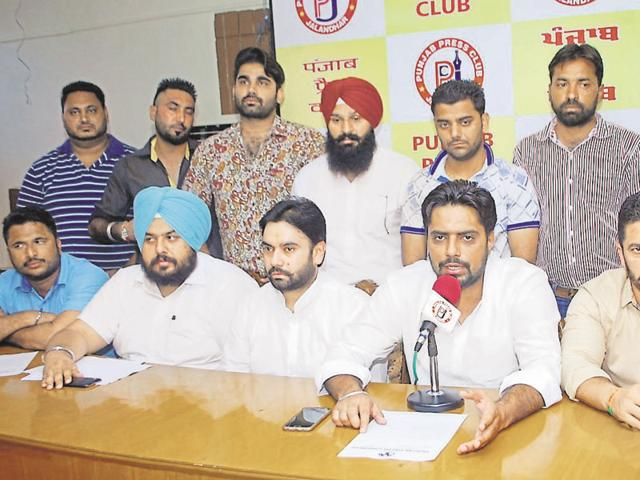 State youth Congress president Amarpreet Singh Lally addressing the media in Jalandhar on Wednesday.