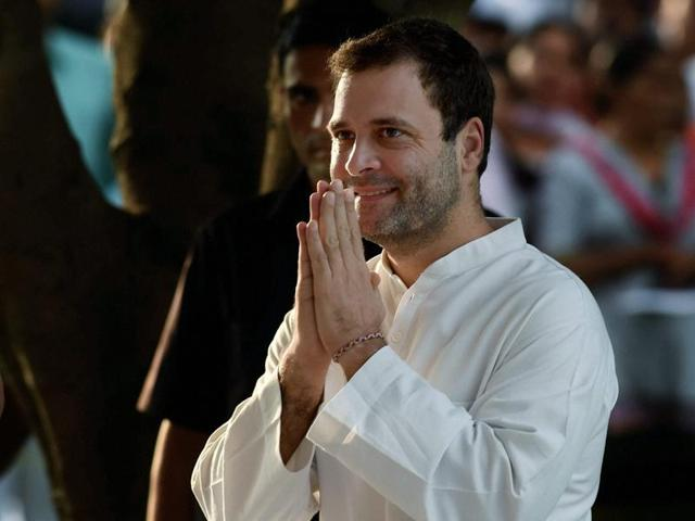 Congress vice-president Rahul Gandhi leaves after paying tributes to former Prime Minister Rajiv Gandhi on his 72nd birth anniversary at Vir Bhumi in New Delhi.