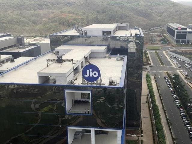 A general view of Reliance Jio headquarters is seen on the outskirts of Mumbai.