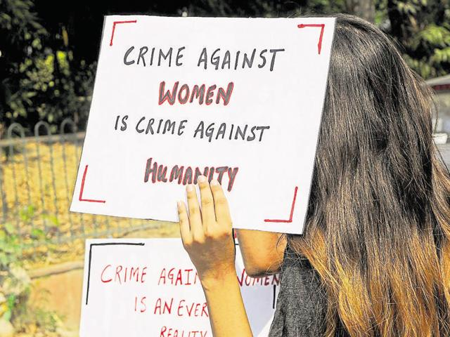 File photo of school students protesting against  harassment and crime against women in Noida, UttarPraesh. The latest NCRB stats for UP and Bihar reveal that number of cases of crime against women have come down over the last one year.