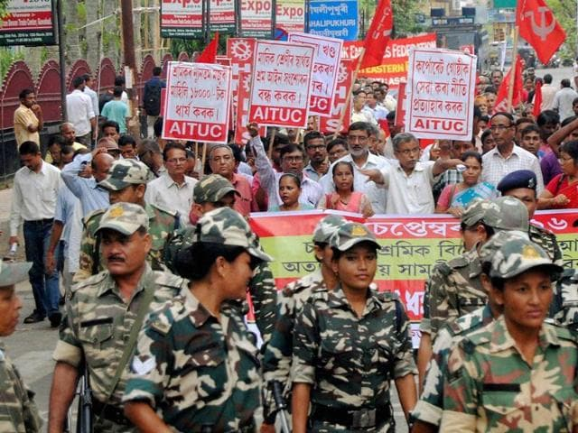 Activists of the trade unions and employees' federation taking out a procession in Guwahati on Wednesday, in support of Central trade unions September 2 strike.