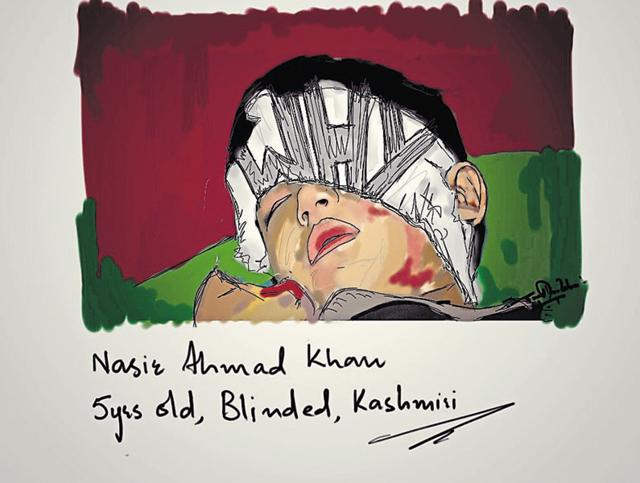 An art work by exhibition curator Syed Mujtaba Rizvi on a Kashmiri boy who lost his vision in the ongoing stir