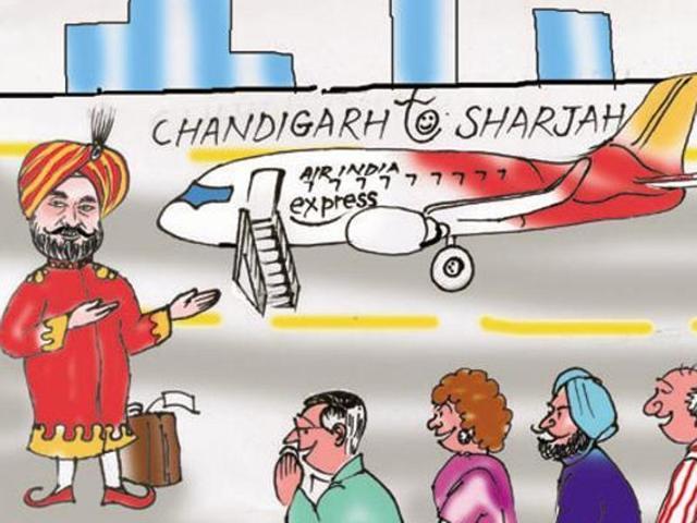 Punjab government,first international flight,Chandigarh to Sharjah