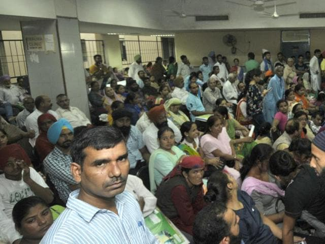 Long wait: PGI OPDs are bursting at the seams with patients from neighbouring states and also places as far as Bihar.