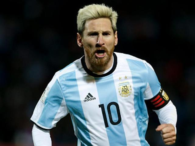 Lionel Messi of Argentina celebrates after scoring the first goal of his team.