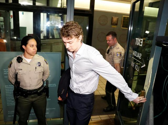 Brock Turner, the former Stanford swimmer convicted of sexually assaulting an unconscious woman, leaves the Santa Clara County Jail in San Jose.