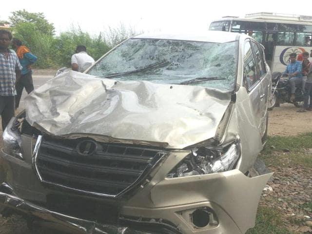 The Innova that killed five men near Mukerian on Friday.