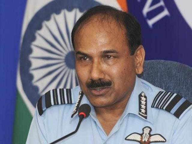 New Delhi, India - Oct. 3, 2015: Indian Air Force (IAF) Chief Arup Raha addresses a press conference on upcoming Air force Day celebration in New Delhi, India, on Saturday, October 3, 2015. (Photo by Mohd Zakir/ Hindustan Times)