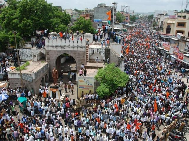 Marathas gather at a square in Aurangabad to protest the rape and murder of a 14-year-old girl of their community in Kopardi village.