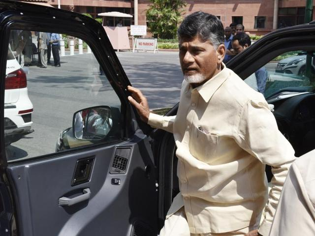 Andhra Pradesh CM Chandrababu Naidu at Parliament House in New Delhi.