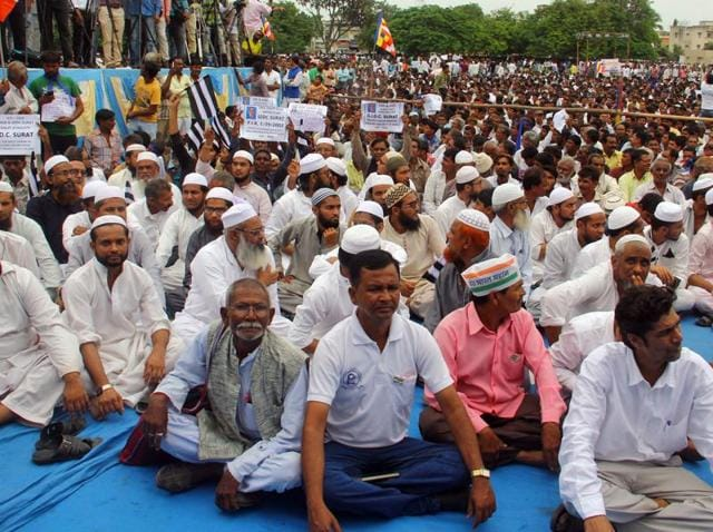Muslims and Dalits participates in a Dalit rally in Una in Gujarat on  August 15, 2016.