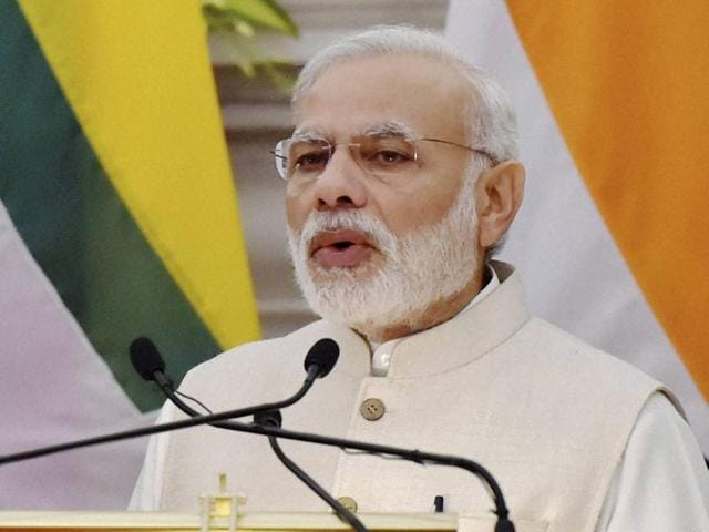 Prime Minister Narendra Modi at Hyderabad House in New Delhi.