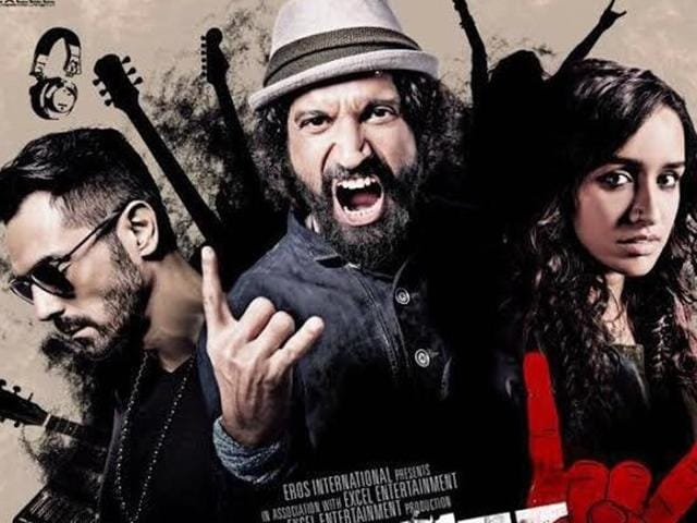 Arjun Rampal, Farhan Akhtar, Shraddha Kapoor and Purab Kohli on Rock On 2 poster.