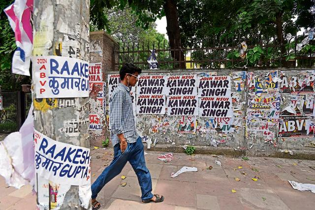 Posters of DUSU candidates can be seen in the Delhi University campus.