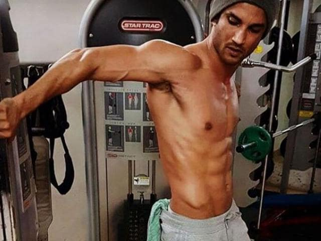 Sushant Singh Rajput working out in his gym.