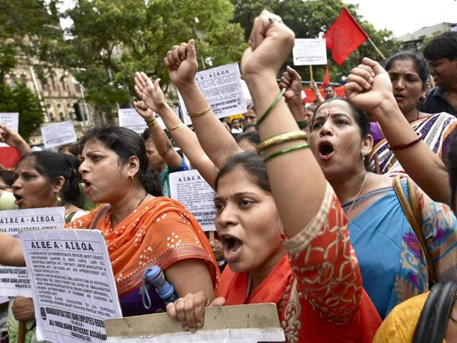 A closed United Bank of India branch as several trade unions call strike against central government in Mumbai on Friday