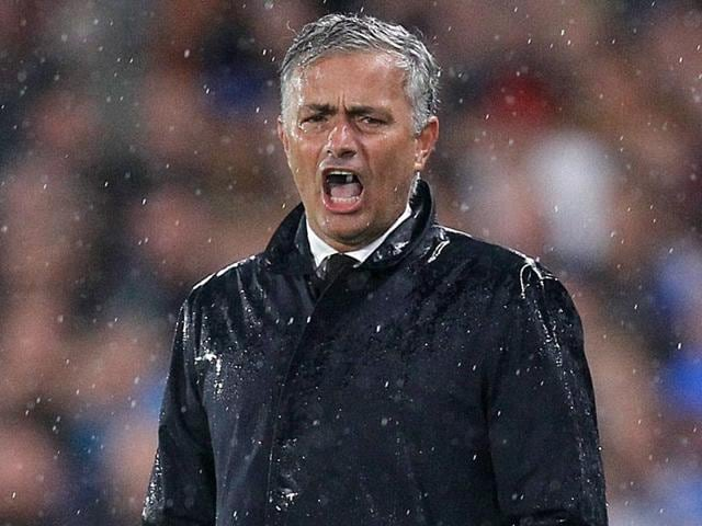 Manchester United manager Jose Mourinho in action.