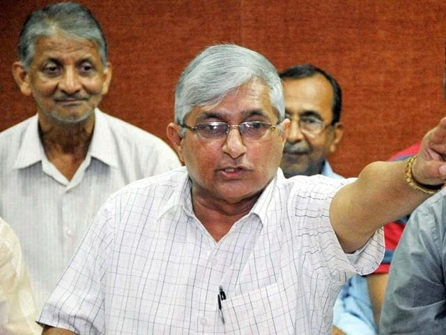 Ousted RSS Goa chief Subhash Velingkar addresses a press conference in Panaji.