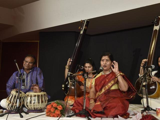 Sarita Pathak Yajurvedi during a raga yaman recital.