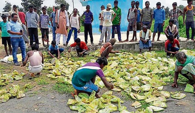 Villagers collect empty sugar packets thrown in Manika forest in Latehar district on Friday.