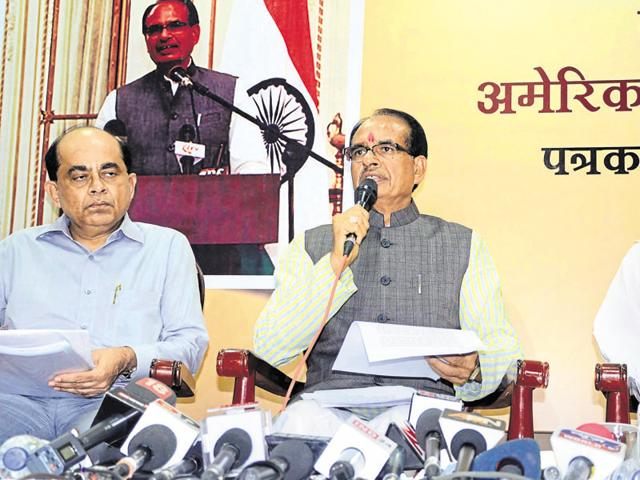CM Shivraj Singh Chouhan addresses a press conference in Bhopal on Saturday after his visit to the US.
