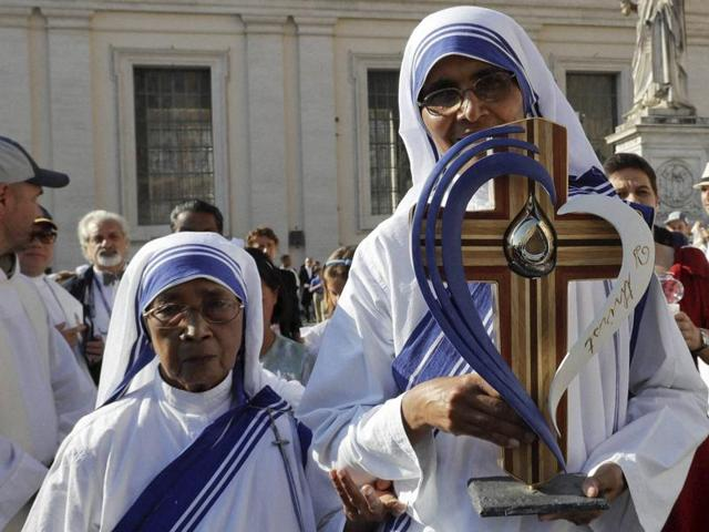 The relics of Mother Teresa are carried by nuns prior to the start of a mass celebrated by Pope Francis where she was canonised in St. Peter's Square, at the Vatican.