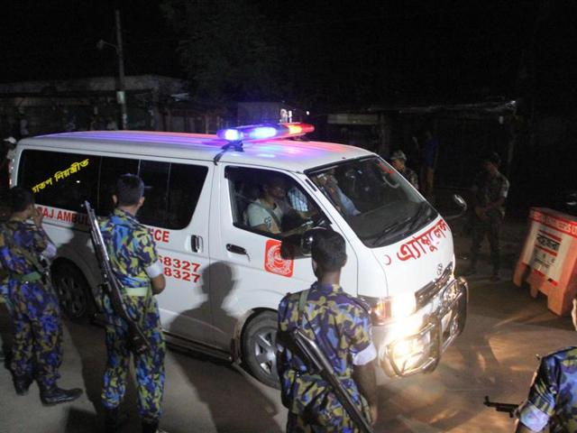 An ambulance carrying the body of Mir Quasem Ali outside Kashimpur central jail on the outskirts of Dhaka after he was executed for war crimes.