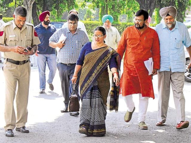 Senators on their way to attend a meeting at Panjab University on Saturday.