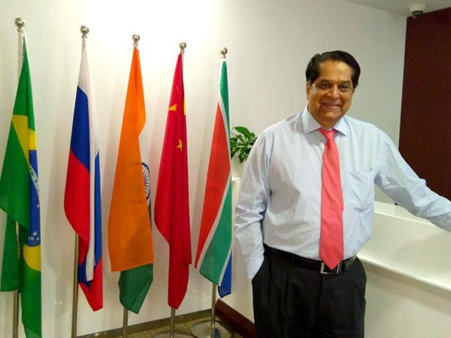 KV Kamath, the chief of the New Development Bank at his office. The NDB is a multilateral bank established by the BRICS countries.