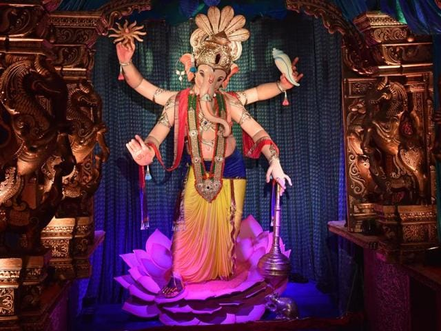 The Mumbaicha Raja Ganpati idol at Ganesh Galli was unveiled on Saturday.