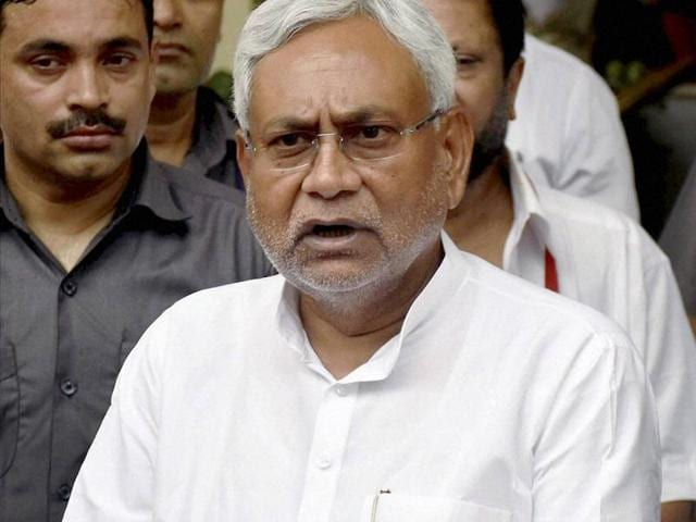 Bihar chief minister Nitish Kumar interacts with journalists during a press conference in Patna.