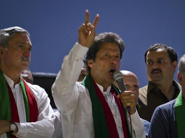 Pakistan Tehrik-e-Insaf (PTI) chairperson Imran Khan  addressing a rally in Peshawar.