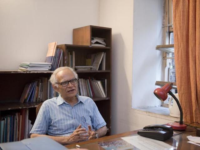 Krishna Kumar, professor of education, Delhi University says that restoring professional dignity for teachers has to be top priority.(Saumya Khandelwal/HT PHOTO)