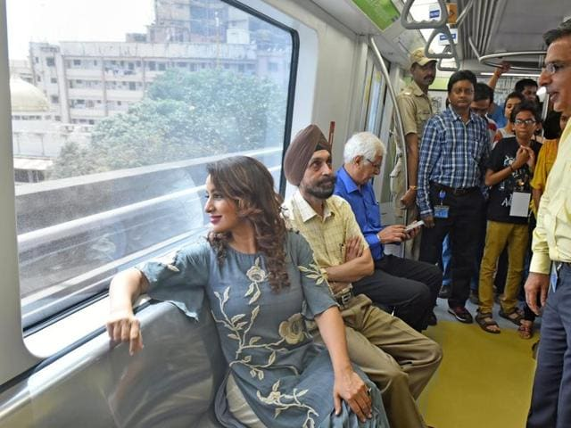 Actor Tisca Chopra travels by the Metro as part of the 21-day art festival in Mumbai on Saturday.